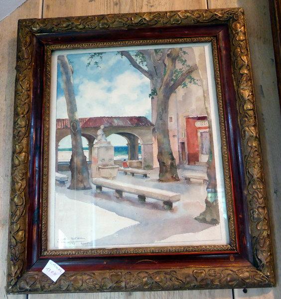 Aquarelle max moreau xx menton la place 1946 watercolor painting cote artpric - Objet vintage occasion ...